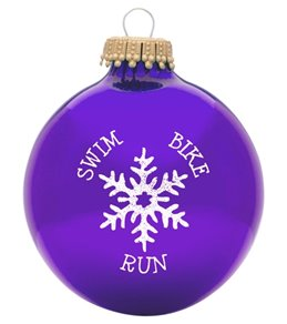 bay six swim bike run snowflake ornament