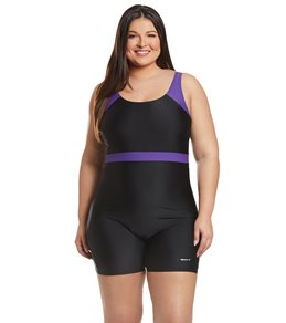 Sporti Plus Size Unitard Colorblock One Piece  Swimsuit