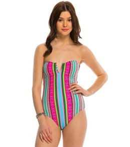 Hobie Striped Surprised One Piece Swimsuit