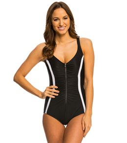 Active Spirit S.P.A. Zip N Dip V-Neck One Piece Swimsuit