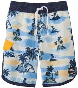 Platypus Boys' UPF 50+ Retro Hawaii Slim Boardshort (18mos-14yrs)