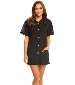 J.Valdi Baroque Button Front Hooded Cover Up Dress