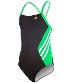 아디다스 여아(7~16) 강습용 원피스 수영복 Adidas Youth Solid Splice Vortex Back One Piece Swimsuit
