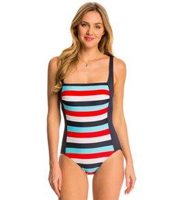 Tommy Hilfiger Slide Stripe Square Neck Tank One Piece Swimsuit