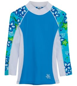 Tuga Girls' UPF 50+ Plumeria Passion Shoreline L/S Rash Guard (2yrs-14yrs)