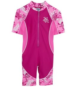 Tuga Infant Girls' UPF 50+ Turtle Paradise Low Tide S/S One Piece Sun Suit  (3mos-18mos)