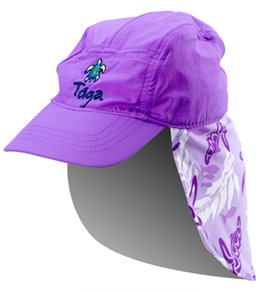 Tuga Girls' Turtle Paradise UPF 50+ Flap Hat