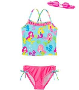edbba20dca219 Jump N Splash Girls' Mermaid Party Two-Piece Swimsuit w/ Free Goggles (