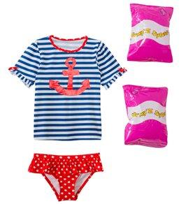 Jump N Splash Toddler Girls' Sweet Sailor Two-Piece Short Sleeve Rashguard Set w/ Free Floaties (2T-3T)