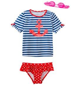 Jump N Splash Girls' Sweet Sailor Two-Piece Short Sleeve Rashguard Set w/ Free Goggles (4-6X)