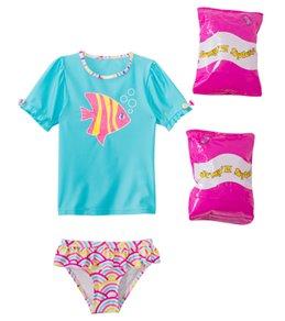Jump N Splash Toddler Girls' Wish Fish Two-Piece Short Sleeve Rashguard Set w/ Free Floaties (2T-3T)