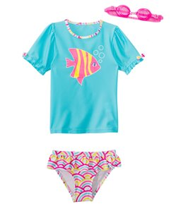 Jump N Splash Girls' Wish Fish Two-Piece Short Sleeve Rashguard Set w/ Free Goggles (4-6X)