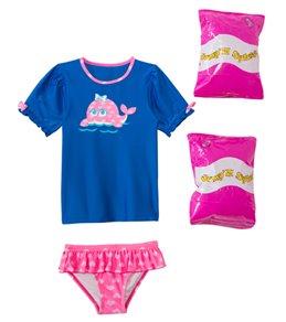 Jump N Splash Toddler Girls' Happy Whale Two-Piece Short Sleeve Rashguard Set w/ Free Floaties (2T-3T)