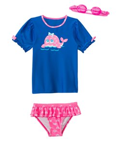 Jump N Splash Girls' Happy Whale Two-Piece Short Sleeve Rashguard Set w/ Free Goggles (4-6X)