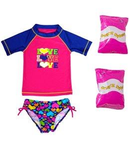 Jump N Splash Toddler Girls' Triple Love Two-Piece Short Sleeve Rashguard Set w/ Free Floaties (2T-3T)