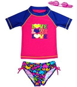 Jump N Splash Girls' Triple Love Two-Piece Short Sleeve Rashguard Set w/ Free Goggles (4-6X)