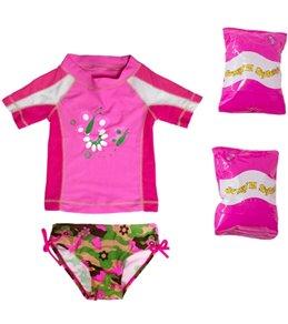 Jump N Splash Toddler Girls' Butterfly Two-Piece Short Sleeve Rashguard Set w/ Free Floaties (2T-3T)