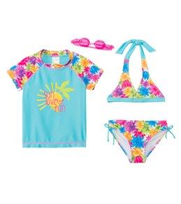 Jump N Splash Girls' Sun Love & Fun 3-Piece Rashguard Set w/ Free Goggles (4yrs-12yrs)
