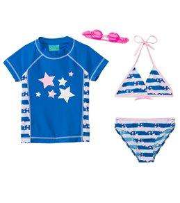 Jump N Splash Girls' Starlight 3-Piece Rashguard Set w/ Free Goggles (4yrs-12yrs)