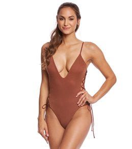 583fd25eab2 Blue Life Mermaid Lace Up One Piece Swimsuit