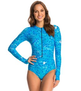SlipIns SurfSkin Mini Blue Fish Zipper Long Sleeve One Piece Swimsuit
