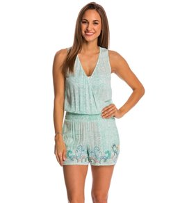 Green Dragon Aloe Beaded Surplice Cover Up Romper