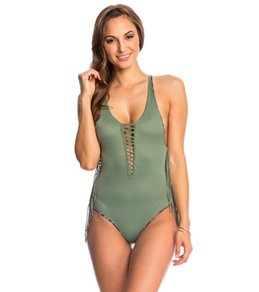 Indah Margaux Solid Fringe Lace Up One Piece Swimsuit