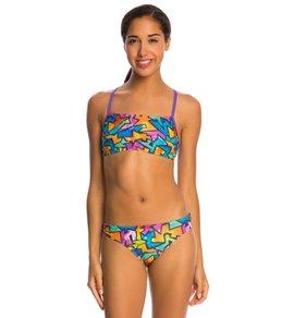 Speedo Flipturns Polygram Power Printed Two Piece Bikini Swimsuit Set