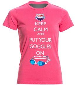 USA Swimming Women's Keep Calm Crew Neck T-Shirt