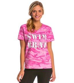 AMBRO Manufacturing Women's Short Sleeve Swim Brat Tee Shirt