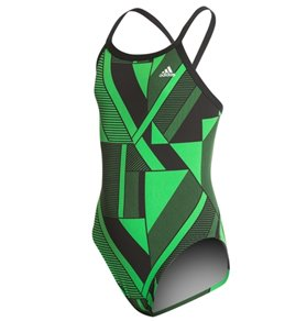 아디다스 여아(7~16) 강습용 원피스 수영복 Adidas Girls Sport DNA Vortex Back One Piece Swimsuit,Green