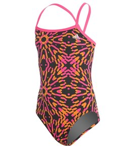 아디다스 여아(7~16) 강습용 원피스 수영복 Adidas Girls Kaleidoscope Open Back One Piece Swimsuit