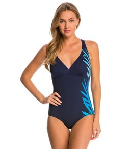 Adidas Women's Shirred Front Crossback One Piece Swimsuit