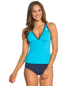 Adidas Women's Solid Piped Crossback Tankini Top