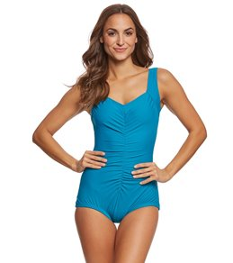 8e331e2902a Maxine Solids Tricot Shirred Girl Leg One Piece Swimsuit