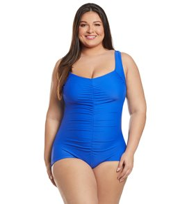 Maxine Plus Size Solids Tricot Shirred Girl Leg One Piece Swimsuit