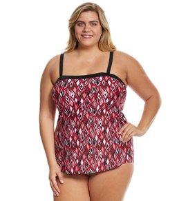 Maxine Plus Size Geo Gem Bandeau Sarong One Piece Swimsuit