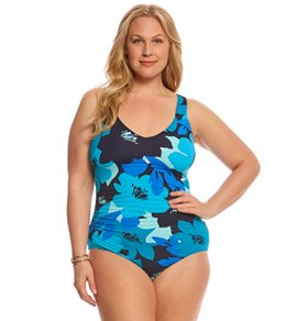 Anne Cole Signature Plus Size In Full Bloom V-Neck One Piece Swimsuit