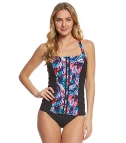 Profile Sport by Gottex Women's Tiger Wave Tankini Top (D-Cup)