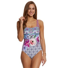 Gottex Le Jardin Square Neck One Piece Swimsuit