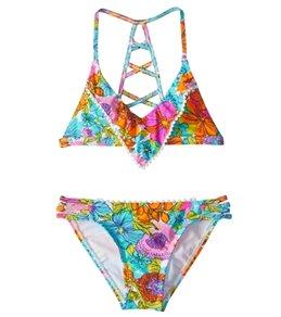 Hobie Girls' Fleur to Love Flounce Bralette Bikini Set (7-14)
