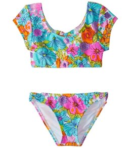 Hobie Girls' Fleur to Love Crop Top Bikini Set (7-14)