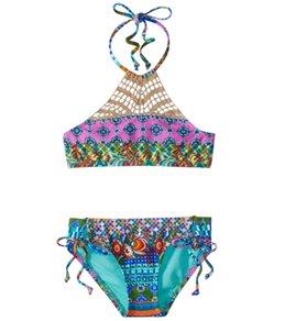 Hobie Girls' Seam Weaver High Neck Bikini Set (7-14)
