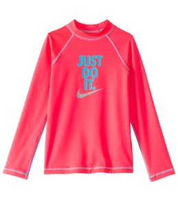 Nike Swimwear Girls' Just Do It Long Sleeve Hydro Top Rash Guard (7-14)
