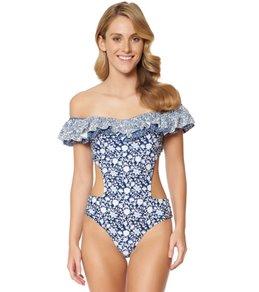 f05187392c1 Jessica Simpson Swimwear Patched Up Cutout Ruffle One Piece Swimsuit
