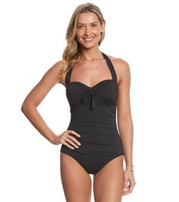 Tommy Bahama Pearl Solids V Front Halter One Piece Swimsuit