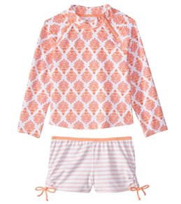 Cabana Life Girls' UPF 50+ Nantucket Sound Rashguard Swim Set (6mos-6X)