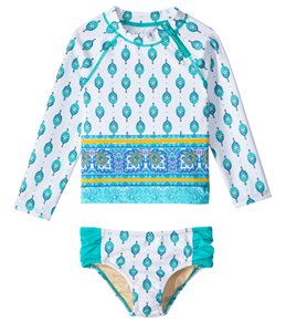 Cabana Life Girls' UPF 50+ Sardinia Sands Rashguard Swim Set (2T-6X)