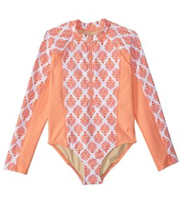 Cabana Life Girls' UPF 50+ Nantucket Sound L/S One Piece Swimsuit (2T-6X)
