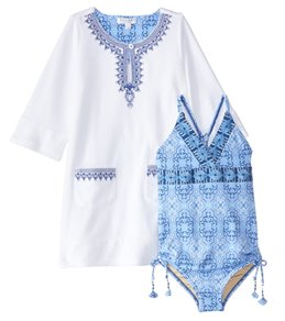 Cabana Life Girls' UPF 50+ Moroccan Tile Swimsuit & Terry Cover Up Set (6mos-6X)